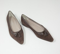 Saks Fifth Avenue leather flats 8 B chocolate brown tassle suede Made in... - $63.00