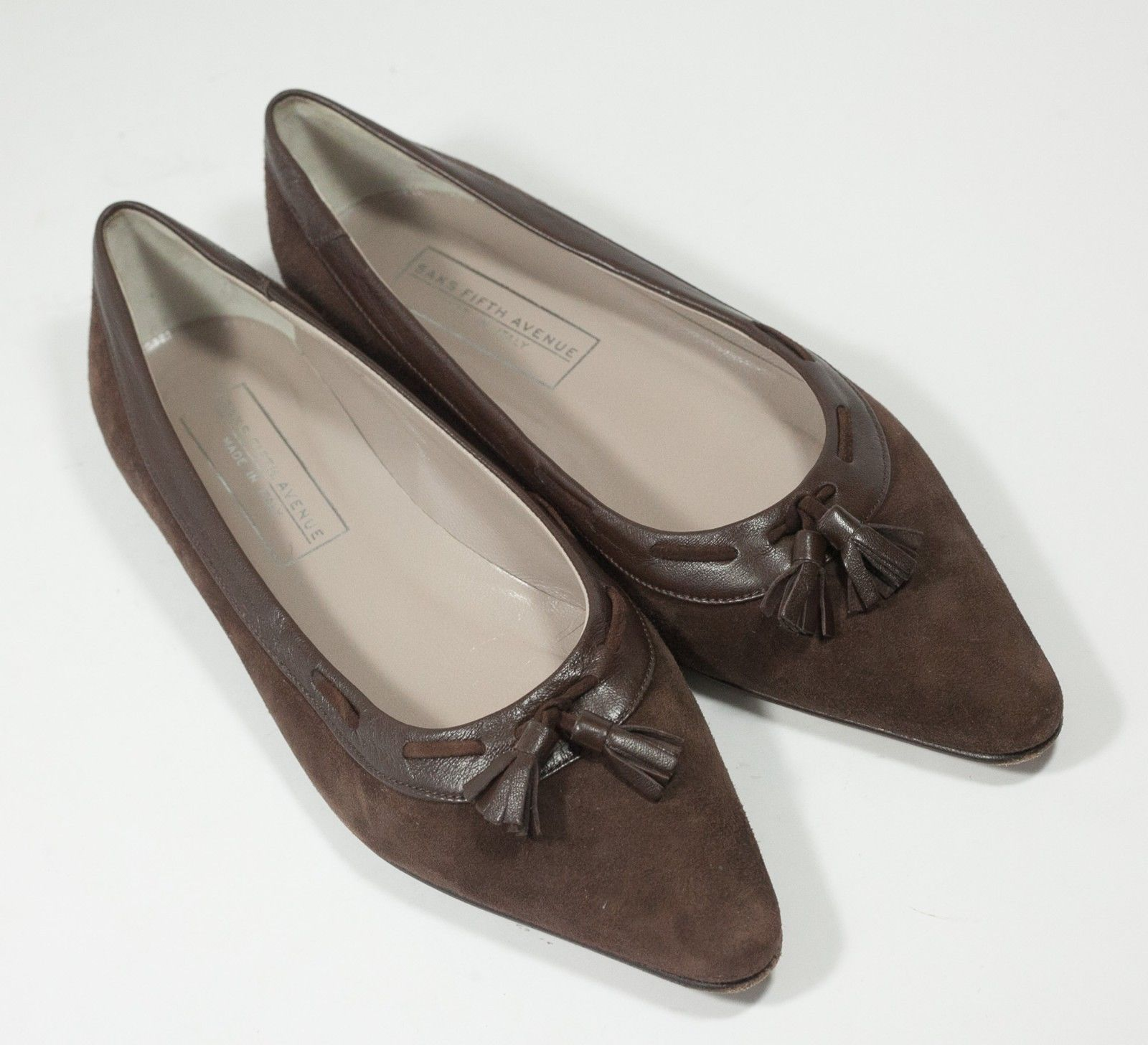 Saks Fifth Avenue leather flats 8 B chocolate brown tassle suede Made in Italy