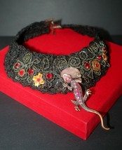 Turkish Hand Knitted & Beaded Necklace with Lizard & Pink Cat Eye Stone - $78.39