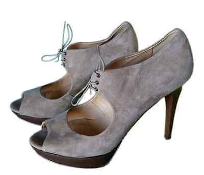 dafeba8633a83 NEW J CREW Women's Peep Toe Beige Suede Heels Pump Italy Lace Up Platform  Sz 11M