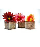 3 Pc Square Bronze Planters Decor - $7.25