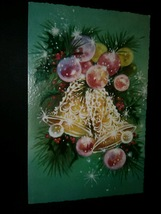 Colorful Bells & Ornaments Vintage Christmas Card BOGO Sale  - £3.06 GBP