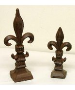 2 pc French Fleur De Lis Lys Finial Large and Small Cast Iron Decor [Kit... - $23.51