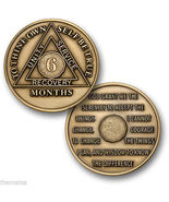 AA ALCOHOLICS ANONYMOUS 6 MONTH RECOVERY SOBRIETY USA MADE CHALLENGE COIN - €14,26 EUR