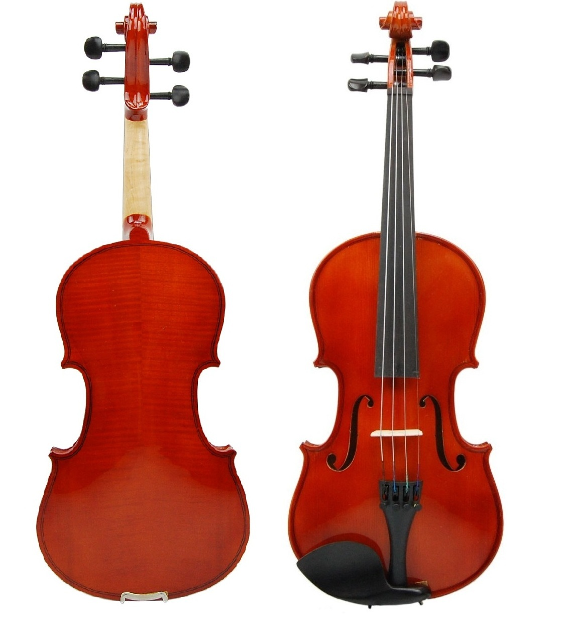 Primary image for 3/4 Size EBONY Fitted Solid Wood Violin w/ Hard Case and Bow+Rosin~Natural