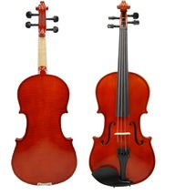 3/4 Size EBONY Solid Wood Nice Flamed Violin w/ Hard Case and Bow+Rosin~Natural - $62.00