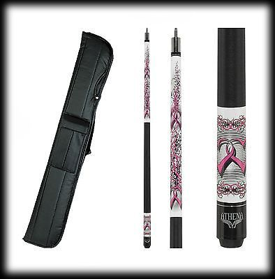 New Athena ATH42 Pool Cue Stick - Pink Barbed Hearts 17-21 oz & Case