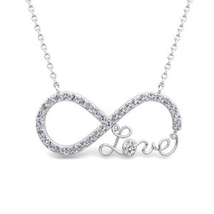 TOP SELLER! LOVE PROMISE INFINITY KNOT CZ NECKLACE .925 STERLING SILVER - $23.03