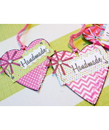 5 Pk Tags For Handmade Products Red Pink Patter... - $3.75