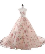 2018 Floral Print Lace Long Prom Dresses Illusion High Neck Ball Gowns Pink - $138.99