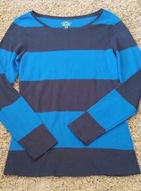 Old Navy wide striped blue long sleeved stretchy boatneck womens L - $13.99