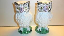 Owl Figurine (1) Andrea Sadek Japan 9220 Porcelain White Purple Beak Green - $15.00