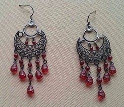 Red bead silver half moon chandelier earrings - $11.29
