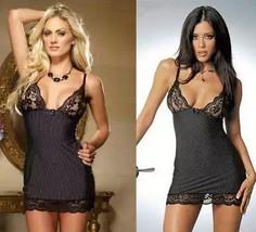 Women Sexy Lingerie Baby-doll BlackStriped Underwear Lace Lingerie Eroti... - $9.84