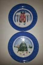 Nikko Winter Wonderland Salad Plate (2) Christmas Tree Red House Blue Deb Mores - $12.15