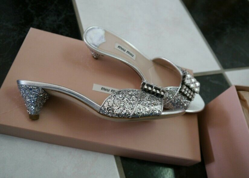 NIB 100% AUTH Miu Miu Silver Glitter Strass Sandals $790 Sz 35.5
