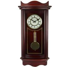 Bedford Clock Collection Weathered Cherry Wood 25 Wall Clock with Pendulum - $105.05