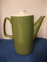 TEAPOT COFFEE TEA HOT CHOCOLATE SERVER POT TALL CERAMIC MUTED GREEN W/ W... - $37.39