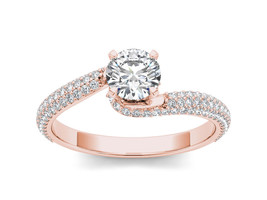 IGI Certified 14k Rose Gold 1.25 Ct Diamond Bypass Solitaire Engagement ... - $1,649.99