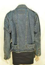 Jordache jeans jacket SZ M denim moto style vintage zippers pockets belt dark image 10