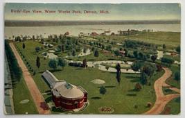 Old Divided Back Postcard Birdseye View of Water Works Park, Detroit, Mi... - $9.79