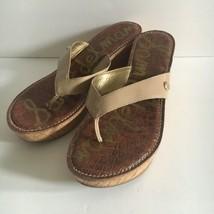 Sam Edelman Romy Platform Wedge Sandal Thong Flip Flop Beige Tan Nude Size 10 - $37.59