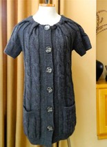 VINCE Sweater Long Cardigan Tunic Dark Gray Wide Cable Knit Short Sleeve... - $1.630,27 MXN