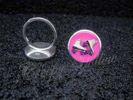 925 Sterling Silver Adjustable Ring White Roller Skates Pink Background - $34.65