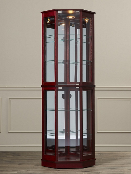Floor standing corner curio cabinet glass mirrored back for Floor standing corner bathroom cabinet