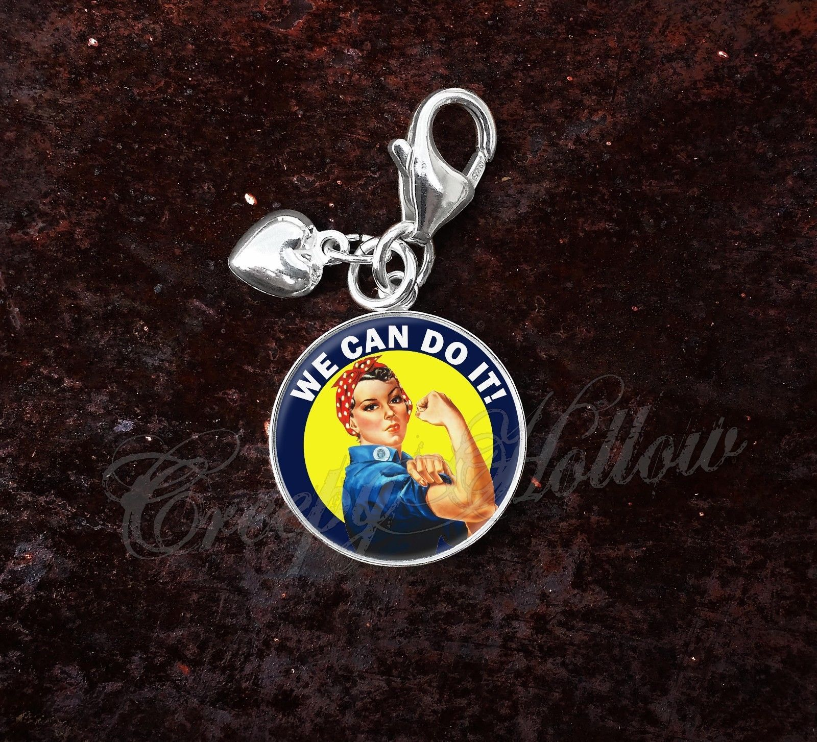 Primary image for 925 Sterling Silver Charm Rosie the Riveter We Can Do It WWII