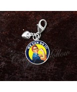 925 Sterling Silver Charm Rosie the Riveter We Can Do It WWII - $25.25
