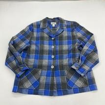 Pendleton 49er Jacket Womens XL Blue Gray Virgin Wool Plaid Notch Collar... - $49.99