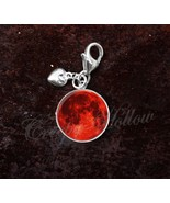 925 Sterling Silver Charm Blood Harvest Full Red Moon - $25.25