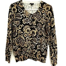 Talbots Women's Medium Petite Cardigan Sweater Black Floral Gold Sheen Career  - $18.75