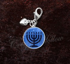 925 Sterling Silver Charm Blue 7 Branch Temple Menorah - $25.25