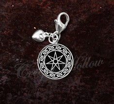 925 Sterling Silver Charm Septagram Faery Elven seven Point Star - $25.25