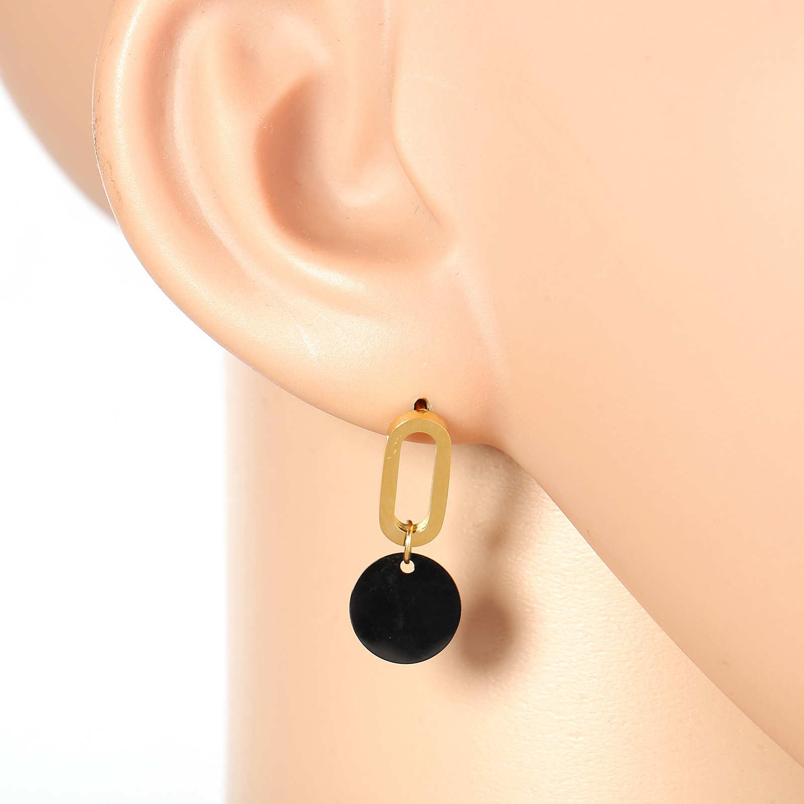 Primary image for Stylish Gold Tone Designer Drop Earrings with Jet Black Gun-Metal Circle