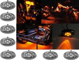 OCTANE LIGHTING 8 Orange Amber Led Chrome Modules Motorcycle Chopper Frame Neon  - $24.70