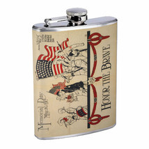 Vintage Poster D187 Flask 8oz Stainless Steel Honor The Brave Memorial Day - £9.22 GBP