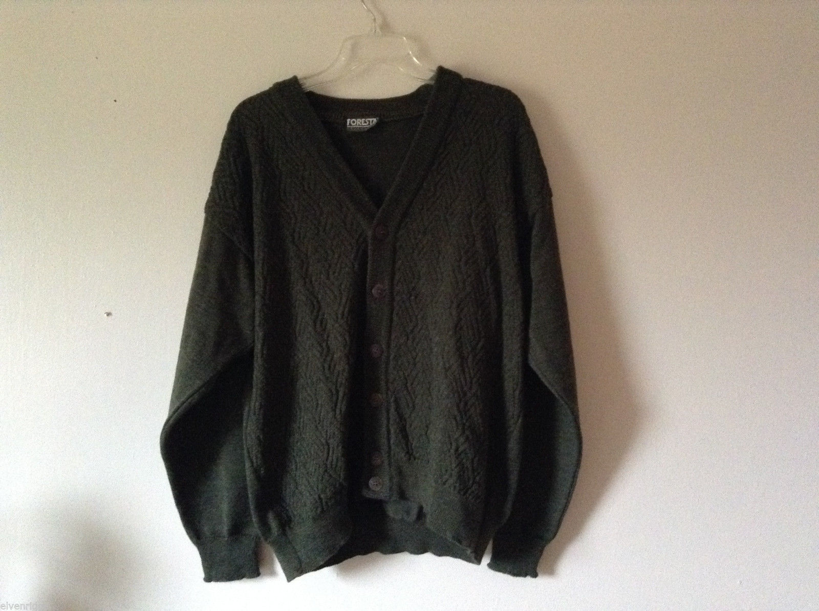 Foresta Men's Size XL Dark Green Button Down Cardigan Chevron Knit
