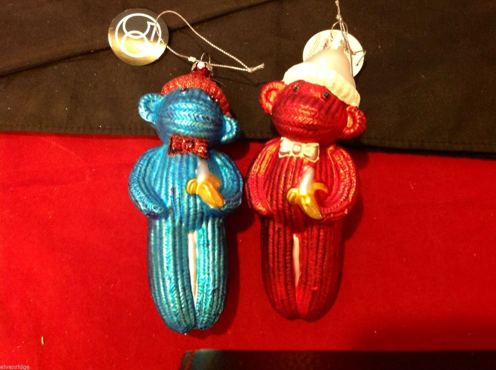 Glass ornament  sock monkey in choice of blue teal or red department 56 new