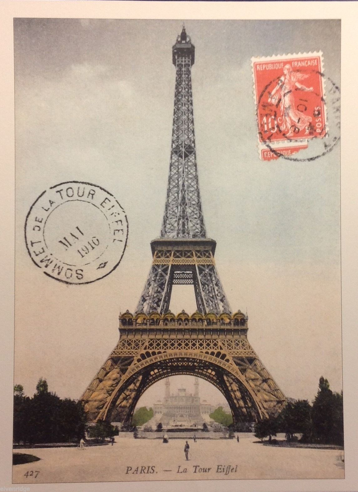 Color Reprint of vintage Paris Postcard Travel Poster Eiffel Tower 1910
