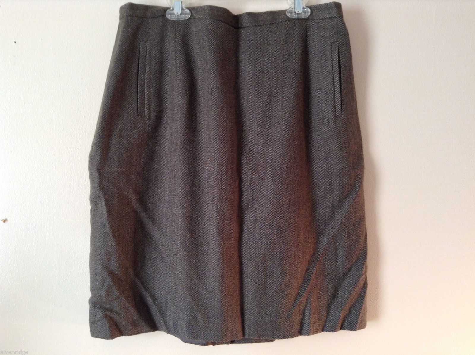 Laura Scott Women's Size 18 Straight Skirt Wool Blend Herringbone Tweed Pattern