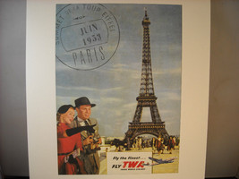 Reproduction Print of Vintage Postcard Poster Eiffel Tower TWA 1953