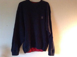 Tommy Hilfiger Men's XL Dark Navy Blue Sweater with Red Border Detail