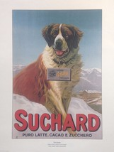 Vintage Italian Color Reprint Dog Poster St. Bernard w chocolate in mountains