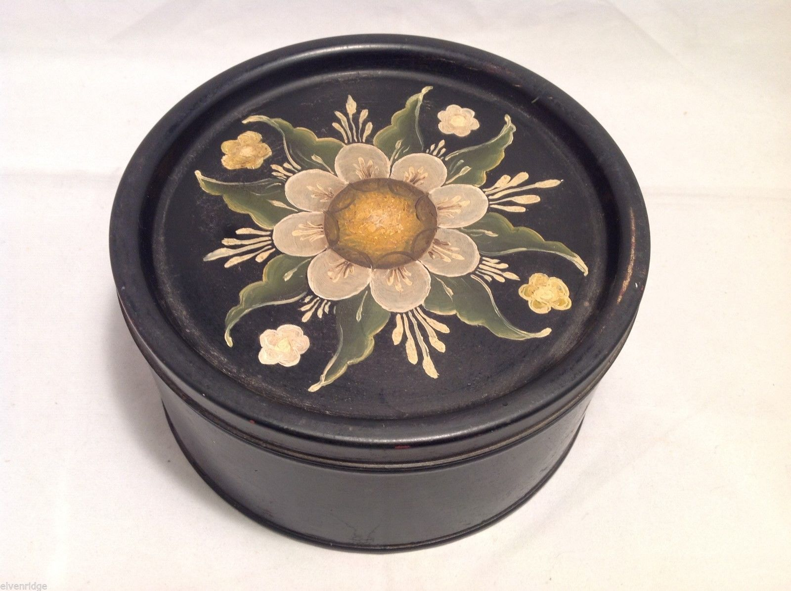 Toleware Tin and cover, black with hand painted flowers