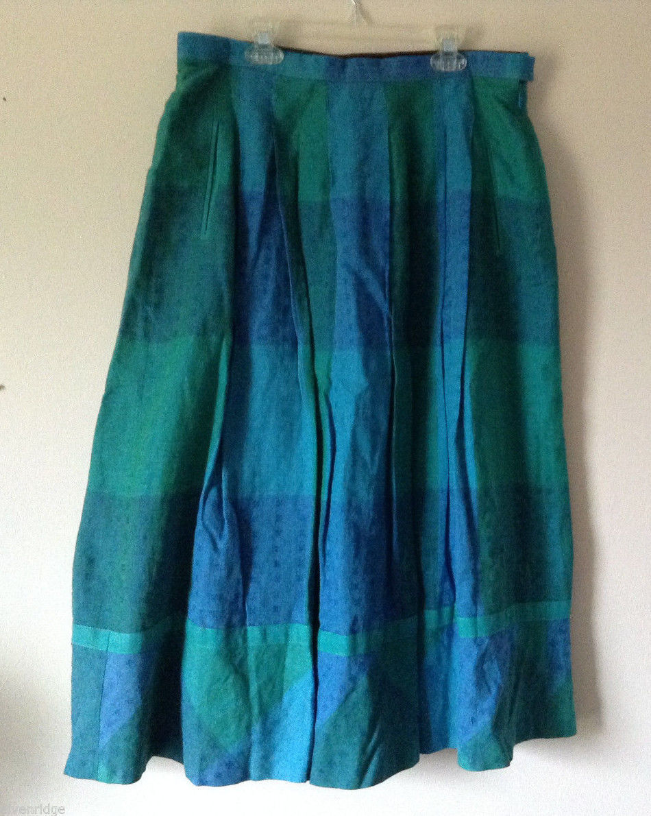"No Brand Women's Size XL Green and Blue Plaid A-Line 32"" Long Skirt"