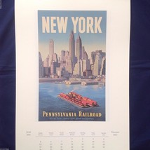 Vintage Color New York City Reprint Skyline Poster w Pennsylvania Railroad