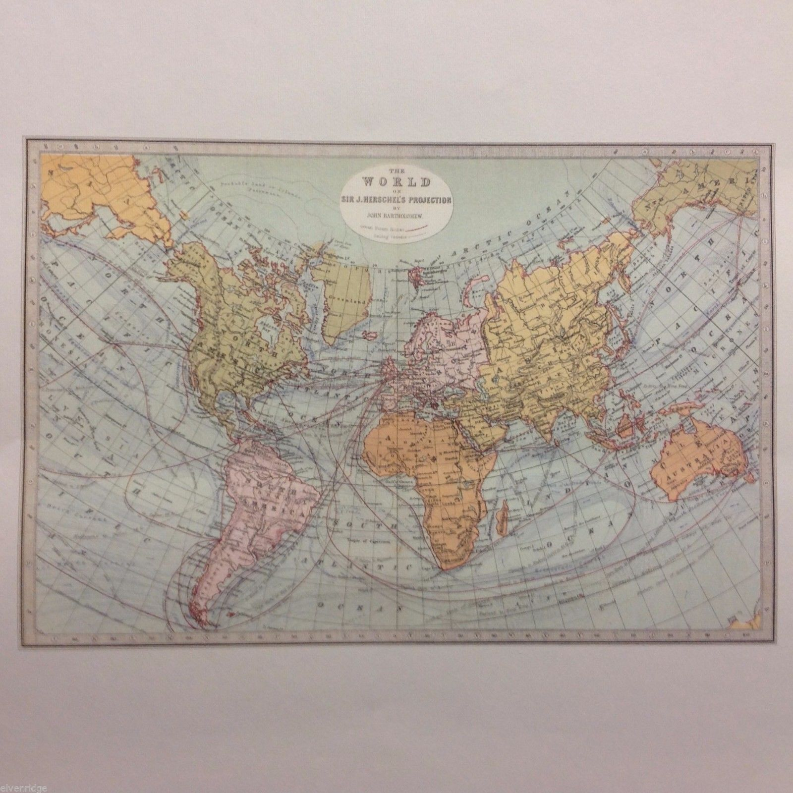 Vintage Color Reprint World Map Poster Sir Herschel's Projection